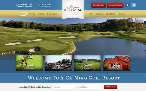 Screenshot of Home Page a-ga-ming.com - A-Ga-Ming Golf Resort - Premier Golf Courses in Northern Michigan   Golf Course near Traverse City & Elk Rapids, MI - captured June 13, 2016