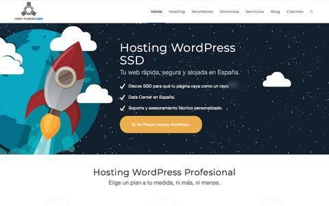 Screenshot of Home Page host-fusion.com - Hosting para WordPress Español - captured Sept. 23, 2018