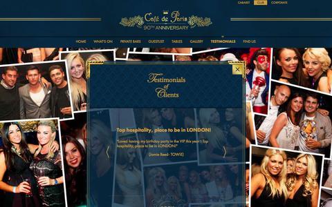 Screenshot of Testimonials Page cafedeparis.com - Café de Paris Review, Club Review London, West End Club Reviews - captured Nov. 2, 2014