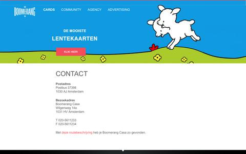 Screenshot of Contact Page boomerang.nl - Contact - Boomerang Cards - captured Oct. 10, 2017