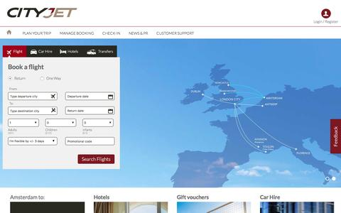 Screenshot of Home Page cityjet.com - Book Flights across Europe  from London City with CityJet - captured May 16, 2017