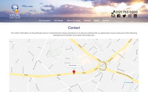Screenshot of Contact Page visualfoods.co.uk - Contact | Visual Foods - captured Oct. 20, 2018