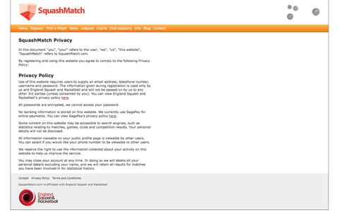 Screenshot of Privacy Page squashmatch.com - Privacy Policy | SquashMatch - captured Oct. 9, 2014