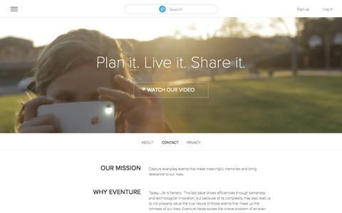 Screenshot of Contact Page eventure.com - Capturing all of life's adventures - captured Sept. 18, 2014