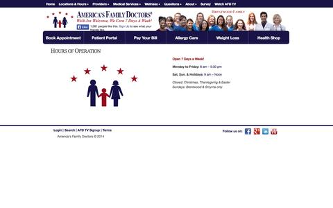 Screenshot of Hours Page afdclinics.com - Hours of Operation | America's Family Doctors - captured Oct. 4, 2014