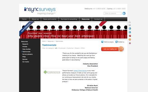 Screenshot of Testimonials Page insyncsurveys.com.au - Testimonials for employee survey, staff survey, employee engagement, customer survey, 360 feedback, exit interview - captured Oct. 6, 2014