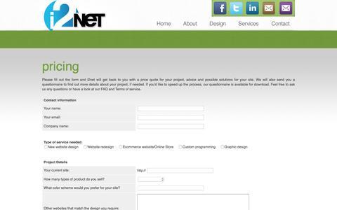 Screenshot of Pricing Page i2net.com - i2net : Affordable Web Design: Custom Web Design: Ecommerce - captured Dec. 25, 2016