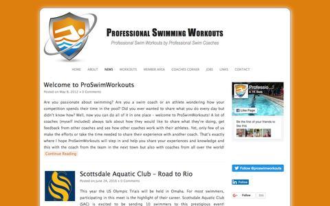 Screenshot of Press Page proswimworkouts.com - Professional Swimming Workouts - Professional Swim Workouts by Professional Swim Coaches - captured July 17, 2016