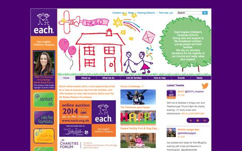 Screenshot of Home Page each.org.uk - East Anglia's Children's Hospices | Home - captured Oct. 1, 2014