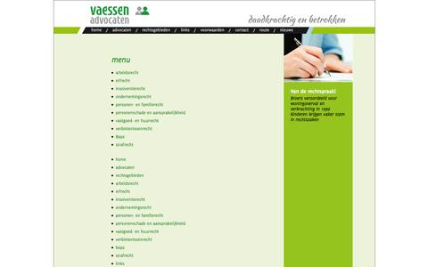 Screenshot of Site Map Page vaessenadvocaten.nl - sitemap - captured Oct. 9, 2014