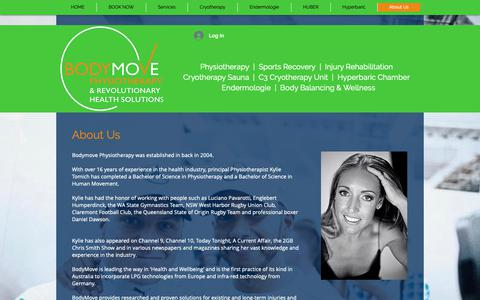 Screenshot of About Page Services Page bodymove.com.au - BodyMove Physiotherapy, Cryotherapy, Hyperbaric, Endemologie, C3 Cryo - captured Nov. 13, 2018