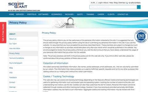 Screenshot of Privacy Page scriptgiant.com - Scriptgiant | Privacy policy - captured Aug. 28, 2016