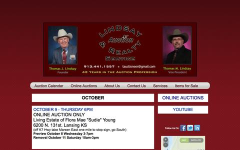 Screenshot of Home Page lindsayauctions.com - LINDSAY AUCTION & REALTY SERVICE INC. Auction Calendar - captured Oct. 8, 2014