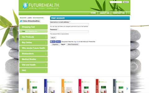 Screenshot of Login Page futurehealthsa.co.za - User account | Futurehealth - captured Oct. 6, 2014