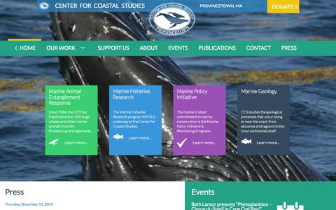 Screenshot of Home Page coastalstudies.org - Center for Coastal Studies   35 Years of Research and Education - captured Jan. 23, 2015