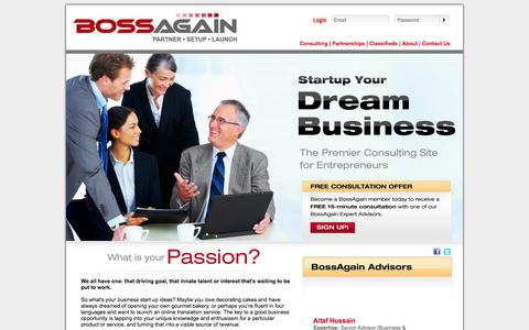 Screenshot of Home Page bossagain.com - Small Business Ideas | Small Business Consulting | BossAgain - captured Oct. 5, 2014