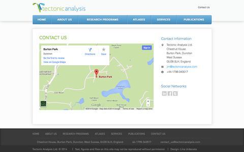 Screenshot of Contact Page tectonicanalysis.com - Contact Us   Tectonic Analysis - captured Oct. 9, 2014