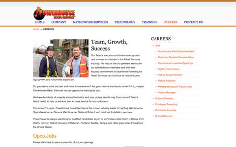 Screenshot of Jobs Page powerhouseretailservices.com - CAREERS «  powerhouseretailservices.com - captured Sept. 30, 2014