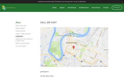 Screenshot of Contact Page greenspaceschattanooga.org - Contact — green|spaces - captured Dec. 26, 2016