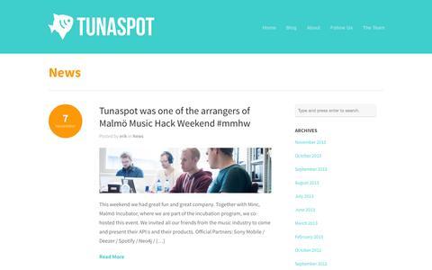 Screenshot of Press Page tunaspot.com - Tunaspot  » News - captured Sept. 13, 2014