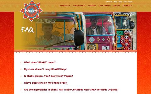Screenshot of FAQ Page drinkbhakti.com - FAQ | Bhakti - captured July 29, 2016