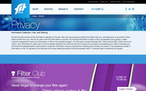 Screenshot of Privacy Page fitbottle.com - Privacy | Water Bottle with Filter - Fit Bottle - captured Sept. 30, 2014
