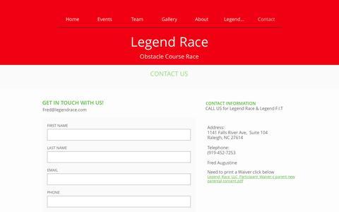 Screenshot of Contact Page legendrace.com - Contact - captured May 17, 2017