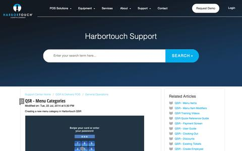 Screenshot of Support Page harbortouch.com - QSR - Menu Categories : Harbortouch Support Center - captured Oct. 9, 2018