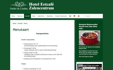 Screenshot of Menu Page hotelonderdelinden.nl - Menu - captured May 23, 2017