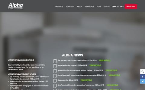 Screenshot of Press Page alpha-innovation.co.uk - News - captured Oct. 4, 2014