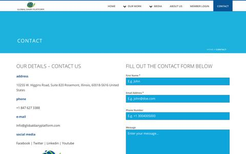 Screenshot of Contact Page globaldairyplatform.com - Contact Us | Contact Global Dairy Platform | Connect - captured Sept. 28, 2018