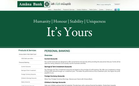 Screenshot of Services Page amanabank.lk - Amana Bank | Sharia banking Sri Lanka | personal banking | overview - captured Oct. 4, 2014