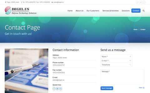 Screenshot of Contact Page degel.us - Contact | DEGEL.US - provides high quality solutions to defense and government customers worldwide - captured Oct. 5, 2014