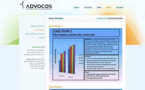 Screenshot of Case Studies Page advocos.com - Case Studies | Advocos - captured Sept. 30, 2014