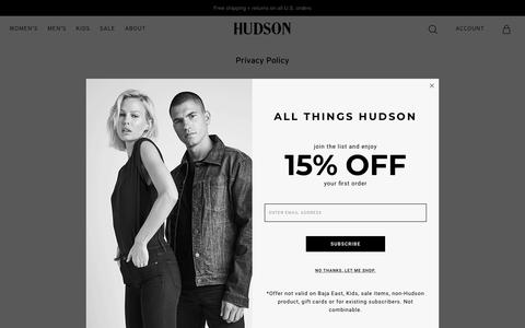 Screenshot of Privacy Page hudsonjeans.com - Privacy Policy – Hudson Jeans - captured March 22, 2019