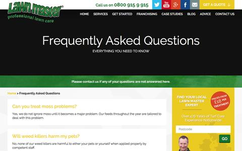 Screenshot of FAQ Page lawnmaster.co.uk - Lawn and Garden Maintenance Frequently Asked Questions - captured Dec. 8, 2015