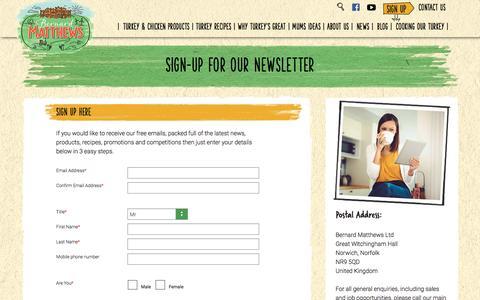 Screenshot of Signup Page bernardmatthews.com - Sign up for our newsletter   Bernard Matthews - captured July 29, 2016