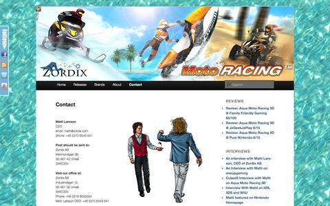 Screenshot of Contact Page zordix.com - Contact | Welcome to Zordix - captured Oct. 26, 2014