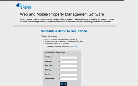 Screenshot of Landing Page buildingengines.com - Schedule a Building Engines Product Demonstration - captured Aug. 13, 2016