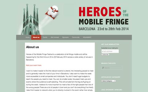 Screenshot of About Page mobileheroes.net - About us | HEROES of the MOBILE FRINGE - captured Oct. 3, 2014