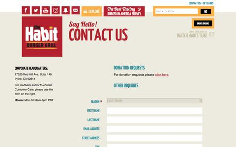 Screenshot of Contact Page habitburger.com - Say Hello! Contact Us | Habit Burger - captured Sept. 16, 2016