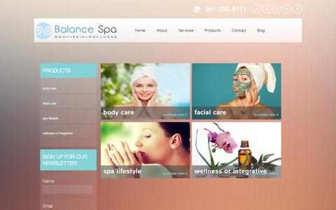 Screenshot of Products Page balancespaboca.com - Balance Spa - Skin and Body Care Products Boca Raton - captured Oct. 5, 2014