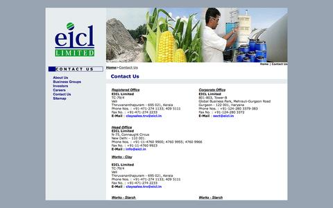 Screenshot of Contact Page eicl.in - Welcome To ::English Indian Clay Limited:: A Thapar Group Company - captured Oct. 27, 2014