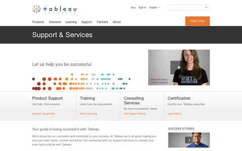 Screenshot of Support Page tableausoftware.com - Support & Services | Tableau Software - captured July 20, 2014