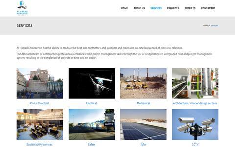 Screenshot of Services Page alhamadqatar.com - Al Hamad     Services - captured Nov. 20, 2016