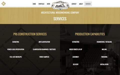 Screenshot of Services Page awcla.com - AWC Architectural Woodworking Company - captured Nov. 2, 2014