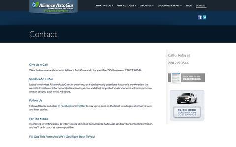 Screenshot of Contact Page allianceautogas.com - Contact an Alliance AutoGas representative | Alliance AutoGas - captured July 29, 2018