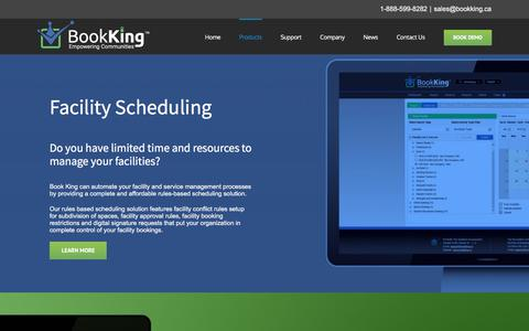 Screenshot of Products Page bookking.ca - Parks and Recreation Software | Book King - captured Sept. 26, 2018