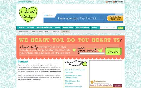 Screenshot of Contact Page iheartdaily.com - contact I Heart Daily - captured Oct. 3, 2014