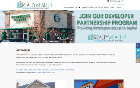 Screenshot of Developers Page realtywealth.com - RealtyWealth.com - Making Net Lease Investing Simple & Affordable - captured March 14, 2016